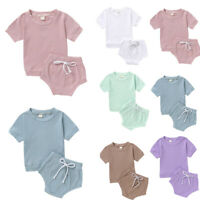 Newborn Toddler Kids Baby Girls Boys Solid T shirt Tops Bow Shorts Outfits Set