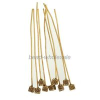20pcs Small Cube-shaped Antique Silver Golden Tone Long Head Pins Finding