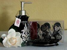 Black & Silver Lotion/Soap Dispenser, Soap Dish, Shower Curtain Hooks - Bath Set