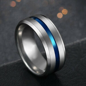 8mm Stainless Steel Mens Womens Wedding Band Black Blue Silver Ring Size 6-12