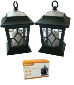 2 x COACH LANTERN SOLAR LED FLICKERING CANDLE GARDEN COPPER HANGING LIGHTS SL211