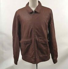 Obey Men's Faux Leather Bomber Jacket Downtown Caramel Size XL NWT