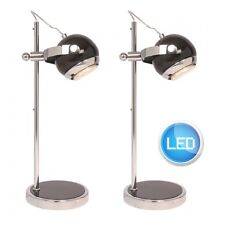 Pair of Modern Retro Black Gloss & Chrome Desk Lamps Bedside Light inc.LED Bulbs