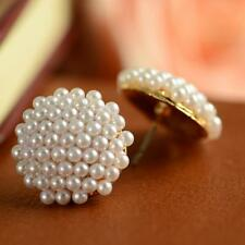Gold Plated Women White Pearl Earrings Ear Studs Beads