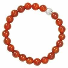 Debutante Carnelian Semi Precious Beaded Silver Tone Stretch Bracelet
