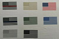 "American Flag iron-on heat transfer decal 3.5""x2"" regular/reverse black/colors"