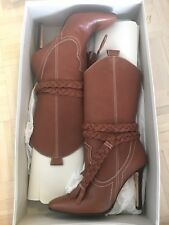 Manolo Blahnik Brown Leather Tall Boots 38.5 $1295