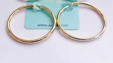 CLIP-ON EARRINGS GOLD OR SILVER PLATED HOOPS 1.5 INCH HOOP EARRINGS SIMPLE THIN