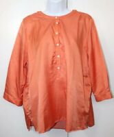 Orvis Silk Mix Top 3/4 Sleeves Orange Peach grunge Blogger Sz XL occasion