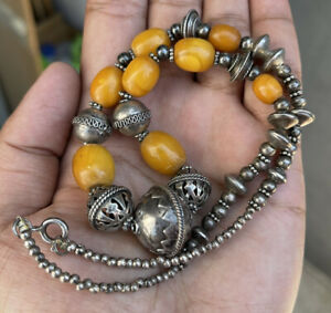 Antique Egg Yolk Butterscotch Amber And Silver Beaded Necklace 44.9gr 925 Marked