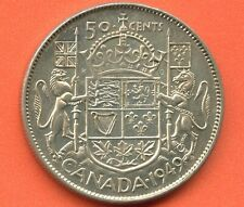 "1949 Canada Silver 50 Cents ""Wide Date"" 11.66 Grams .800"
