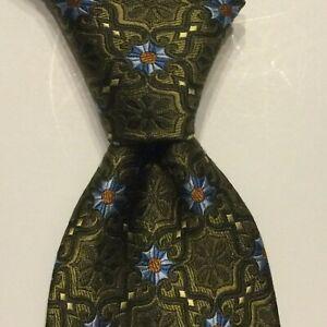 JOS. A. BANK Signature Collection Men's Silk Necktie Luxury Geometric Green EUC