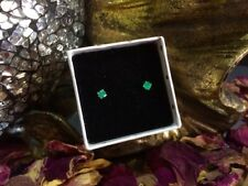 Vibrant genuine natural Emerald 3mm facet sterling silver stud earrings ❇️