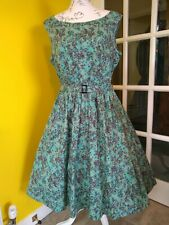 Lindy Bop Audrey Green Floral Swing Dress Size 16-18