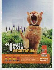 IAMS cat food ad 2015 vtg print clipping I AM NOT A VEGETARIAN orange screaming