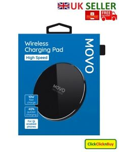 MOVO 100% Genuine Wireless High Speed Charging Pad Black For Samsung, iPhone etc