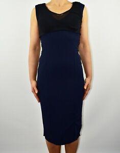 Reiss Sandra Pencil Blue Navy Dress Sleeveless Wedding Spring Summer Size 10 AV