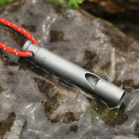 1pc Ultralight Titanium Whistle with Cord Portable Emergency Camping Whistle ·LF