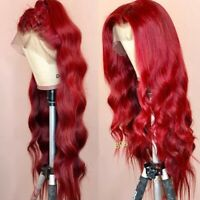 Women Lace Front Human Hair Wigs Wine Red Remy Brazilian Pre Plucked Full Wigs