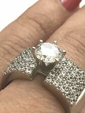 Round simulated Diamond Engagement 7 6 8 Gold 14k solid Real Ring Vintage White