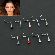 10x Crystal Stainless Steel Screw Nose Hoop Ring Stud Chic Nose Piercing Jewelry