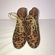 "Bella Marie Womens Wedge Booties Size 7.5 ""Tan Leopard Suede Lace Up Heels"