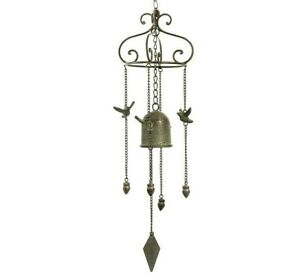 Wind Chime Large Loud Cast Iron Bird  Bell Hanging Metal Home Garden 73 cm