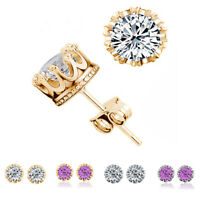 Graceful Crown Shaped Zircon Stud Earrings for Women Romantic Gift Accessories