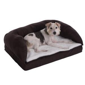 Orthopaedic Dog Bed Brown Beige Luxurious Comfort Sleep With Washable Cushion