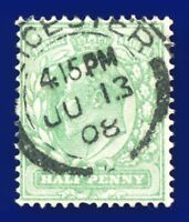 1904 SG218 ½d Yellowish Green M2(2) Good Used Leicester JU 13 08 aubb