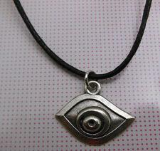 A Wax Cord Tibetan Silver Lucky Evil Eye  Charm Pendant Necklace