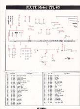 1980 YAMAHA MUSICAL INSTRUMENT PARTS LIST ad sheet - FLUTE model YFL-63