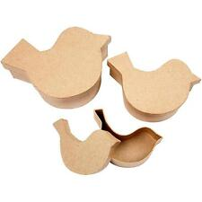 3 Bird/Dove Shape Craft Stackable Boxes Storage Paper Mache Decorate Hand Made