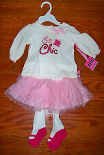 New! Girls MINIVILLE 3pc Pink & Ivory So Chic Ballet TuTu Outfit 0-3 Months