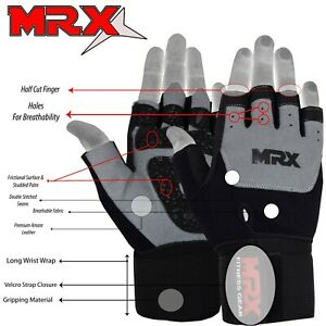 Weightlifting Gloves Gym Workout Weight Training Power Lifting Wrist Strap MRX