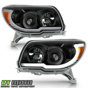 For 2006-2009 Toyota 4Runner Black LED Tube Upgrade Style Projector Headlights