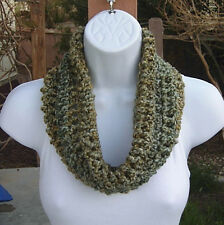 SUMMER COWL SCARF Light Green Yellow Blue Small Short Crochet Knit Circle Loop