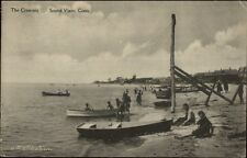 Sound View CT The Crescent Busy Beach Scene c1910 Postcard