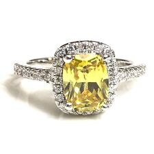 3Ct Yellow Citrine Diamond Halo Ring Women Jewelry Gift SOLID 925 Silver R624