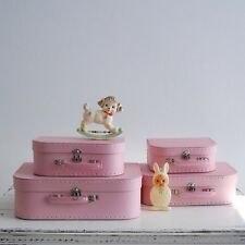 Pink Suitcase Set 4 Vintage Decor Decorative Storage Toy Gift Box