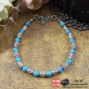 Ladies Jewelry Bracelet Tibetan Silver Bracelet Blue Turquoise Bracelet