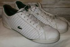 Lacoste All White Leather green stich Sneakers Low Top Men's 13 USED