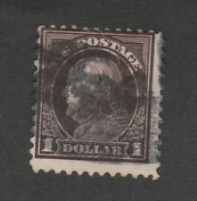Scott 518b, 1917 $1 circulated, clear stuck-stamp offset on the back, ex-hinged