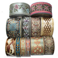 Medieval Flower Jacquard Ribbon Embroidery Silk Fabric Border Satin Weaving Trim