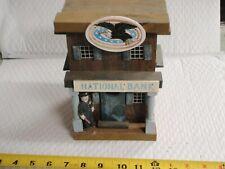 Vintage Hand-Made Folk Art Primitive Wood BUILDING BANK RAILROAD TOWN CUSTOM