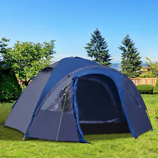 2 3 4 Person Double Layer Camping Tent Dome Shelter Tent Portable Blue