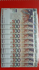 9th Series Malaysia RM100 Ali Abul Hassan Banknote ( AH4437151-AH4437160 ) - UNC