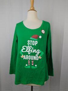 Family PJs Stop Elfing Around Christmas Elf Pajama Top Women's Large #7970