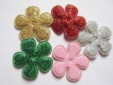 """50 Glitter 1"""" Flower Padded Applique Hair-5 Colors AF006"""