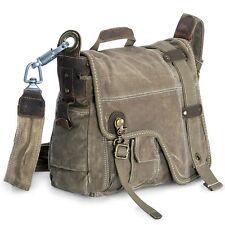Men's Vintage Canvas Satchels Handbag With Real Leather Messenger Shoulder Bag